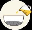 「樹皮炭」と「木酢液」を混合します。