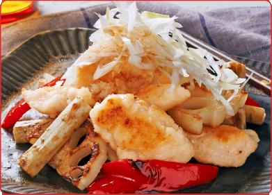 鶏ささみと根菜のねぎおろしぽん酢仕立て