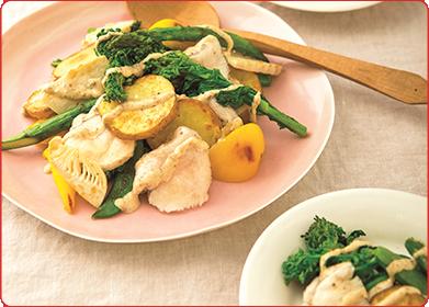 水晶鶏と春野菜のグリルサラダ